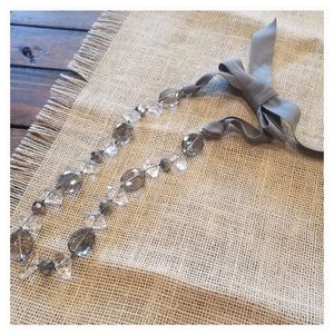 Glass beaded ribbon necklace